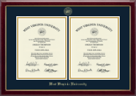 West Virginia University Diploma Frame - Double Diploma Frame in Gallery