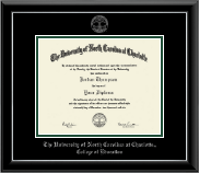 The University of North Carolina at Charlotte Diploma Frame - Silver Embossed Diploma Frame in Onyx Silver