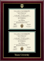 Tulane University Diploma Frame - Double Document Diploma Frame in Gallery
