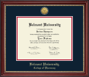 Belmont University Diploma Frame - Gold Engraved Medallion Diploma Frame in Kensington Gold