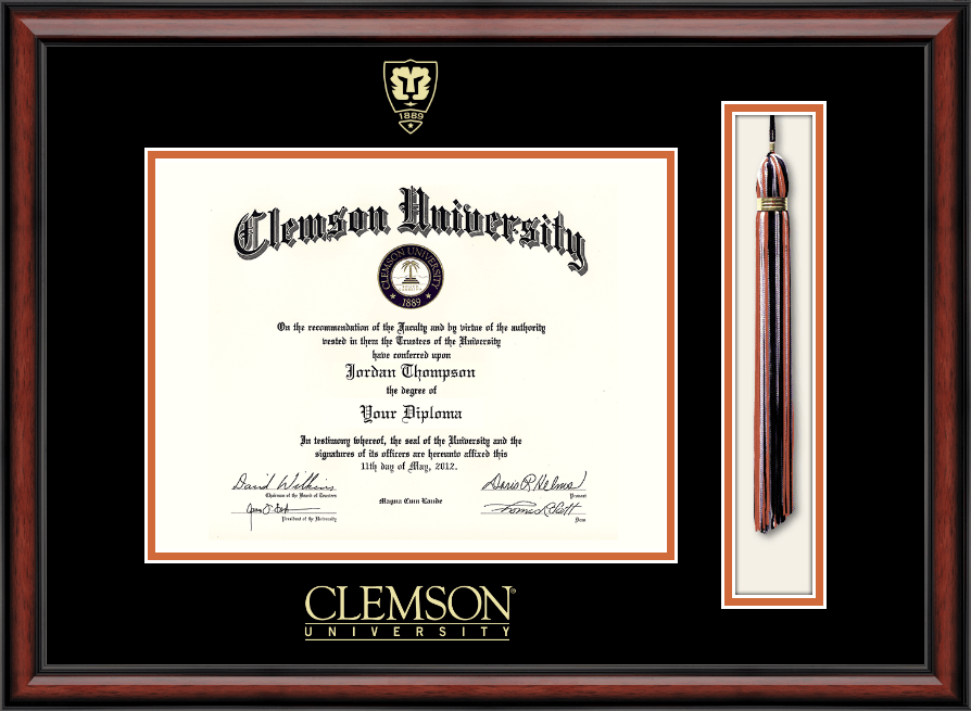 Clemson University Shield Tassel Edition Diploma Frame In