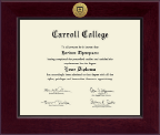 Carroll College at Montana Diploma Frame - Century Gold Engraved Diploma Frame in Cordova