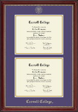 Carroll College at Montana Diploma Frame - Double Document Diploma Frame in Kensington Gold