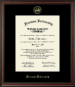 Furman University Diploma Frame - Gold Embossed Diploma Frame in Studio