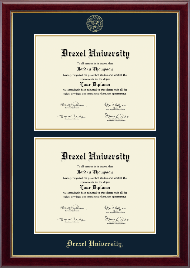 drexel university double document diploma frame in gallery item 231075 from drexel university store