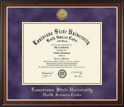 Louisiana State University Health Sciences Center Diploma Frame - Gold Engraved Medallion Diploma Frame in Studio Gold