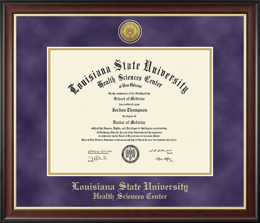 louisiana state university health sciences center gold engraved  louisiana state university health sciences center gold engraved medallion diploma frame in studio gold item 231076 from health sciences center bookstore