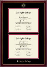 Albright College Diploma Frame - Double Document Diploma Frame in Gallery