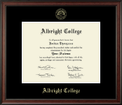 Albright College Diploma Frame - Gold Embossed Diploma Frame in Studio