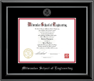 Milwaukee School of Engineering Diploma Frame - Silver Embossed Diploma Frame in Onyx Silver