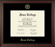 Iona College Diploma Frame - Gold Embossed Diploma Frame in Studio