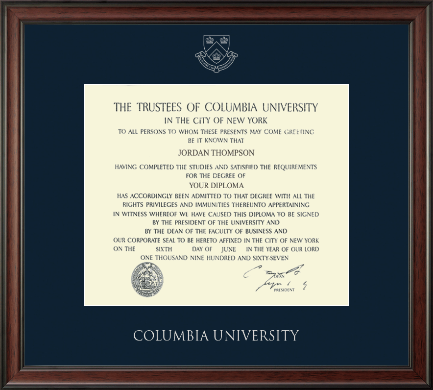 Columbia University Silver Embossed Diploma Frame In