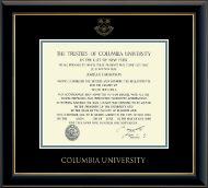 Columbia University Diploma Frame - Gold Embossed Diploma Frame in Onyx Gold