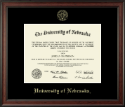 University of Nebraska Diploma Frame - Gold Embossed Diploma Frame in Studio