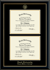 Rush University Diploma Frame - Double Diploma Frame in Onyx Gold