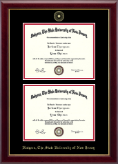 Rutgers University Diploma Frame - Double Document Diploma Frame in Gallery