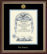 The Citadel The Military College of South Carolina Diploma Frame - Gold Engraved Medallion Diploma Frame in Hampshire