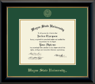 Wayne State University Diploma Frame - Gold Embossed Diploma Frame in Onyx Gold
