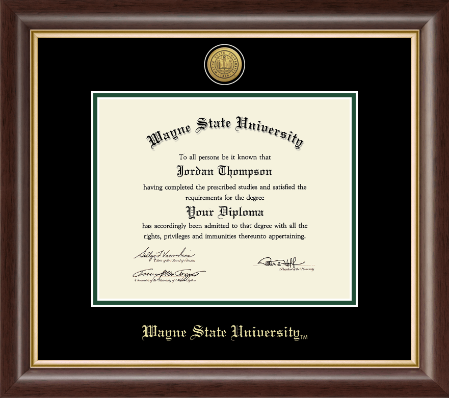 Wayne State University Gold Engraved Medallion Diploma