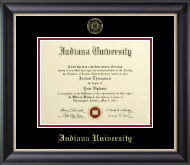 Indiana University Bloomington Diploma Frame - Gold Embossed Diploma Frame in Noir