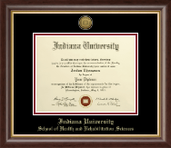 Indiana University - Purdue University Columbus Diploma Frame - Gold Engraved Medallion Diploma Frame in Hampshire
