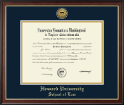 Howard University School of Law Diploma Frame - Gold Engraved Medallion Diploma Frame in Studio Gold