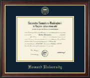 Howard University Diploma Frame - Gold Embossed Diploma Frame in Studio Gold