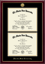 Florida State University Diploma Frame - Double Document Gold Engraved Medallion Diploma Frame in Gallery
