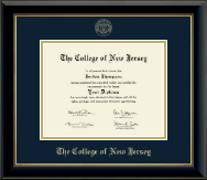 The College of New Jersey Diploma Frame - Gold Embossed Diploma Frame in Onyx Gold