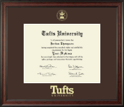 Tufts University Diploma Frame - Gold Embossed Diploma Frame in Studio