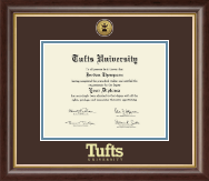 Tufts University Diploma Frame - Gold Engraved Medallion Diploma Frame in Hampshire