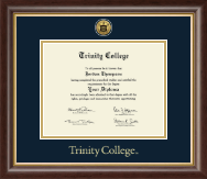 Trinity College Diploma Frame - Gold Engraved Medallion Diploma Frame in Hampshire