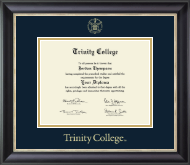 Trinity College Diploma Frame - Gold Embossed Diploma Frame in Noir