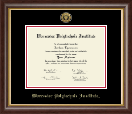Worcester Polytechnic Institute Diploma Frame - Gold Engraved Medallion Diploma Frame in Hampshire