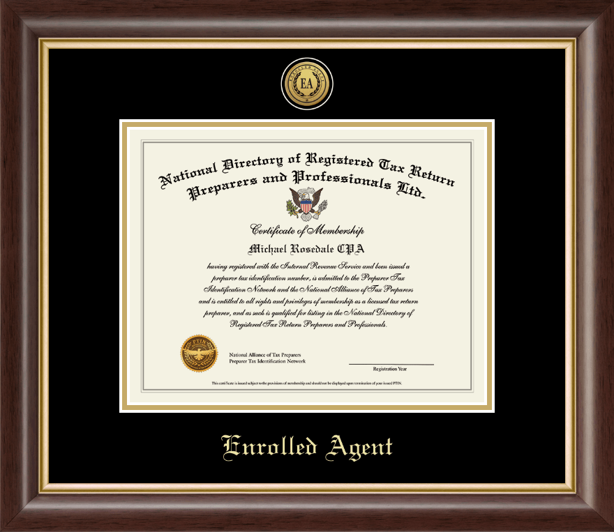PTIN Directory Inc Enrolled Agent Gold Engraved Medallion Certificate Frame In Hampshire