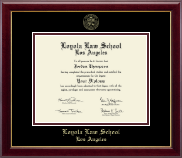 Loyola Law School Los Angeles Diploma Frame - Gold Embossed Diploma Frame in Gallery