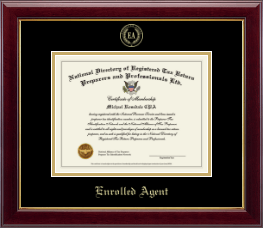 PTIN Directory Inc. Certificate Frame - Enrolled Agent Gold Embossed Certificate Frame in Gallery