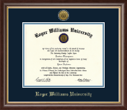 Roger Williams University Diploma Frame - Gold Engraved Medallion Diploma Frame in Hampshire
