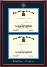 Roger Williams University Diploma Frame - Double Document Diploma Frame in Gallery