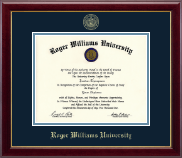 Roger Williams University Diploma Frame - Gold Embossed Diploma Frame in Gallery