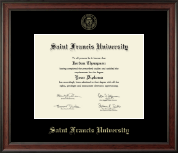 Saint Francis University Diploma Frame - Gold Embossed Diploma Frame in Studio