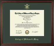 William & Mary Diploma Frame - Gold Embossed Diploma Frame in Studio