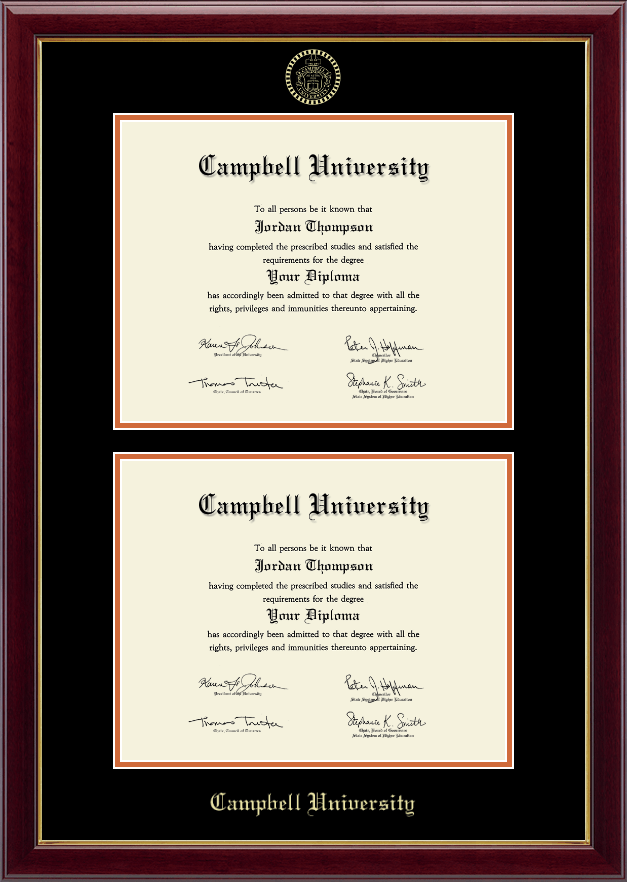 Campbell University Double Document Diploma Frame In