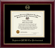 PTIN Directory Inc. Certificate Frame - Registered PTIN Tax Professional Gold Embossed Certificate Frame in Gallery