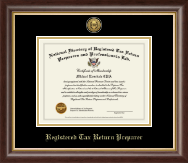 PTIN Directory Inc. Certificate Frame - Registered Tax Return Preparer Gold Engraved Medallion Certificate Frame in Hampshire