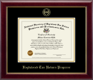 PTIN Directory Inc. Certificate Frame - Registered Tax Return Preparer Gold Embossed Certificate Frame in Gallery