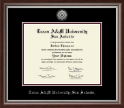Texas A&M University at San Antonio Diploma Frame - Silver Engraved Medallion Diploma Frame in Devonshire