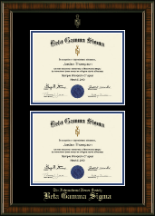 Beta Gamma Sigma Certificate Frame - Double Document Certificate Frame in Brentwood