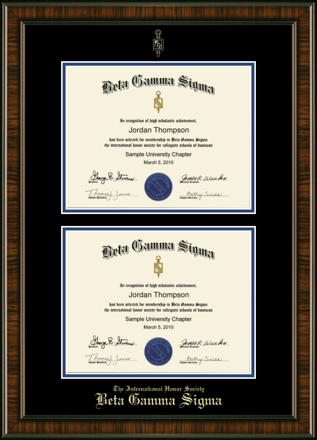 beta gamma sigma certificate frame double document certificate frame in brentwood