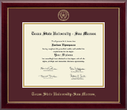 Texas State University San Marcos Diploma Frame - Gold Embossed Diploma Frame in Gallery